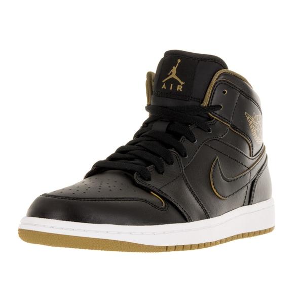 brand new bdd76 bc52c Nike Jordan Men  x27 s Air Jordan 1 Mid Black Metallic Gold