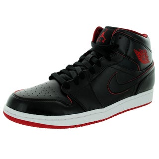 Nike Jordan Men's Air Jordan 1 Mid Black/Black/White/Gym Red Basketball Shoe