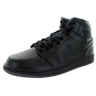 Nike Jordan Men's Air Jordan 1 Mid Black/Black/Dark Grey Basketball Shoe
