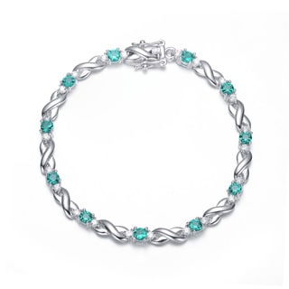 Collette Z Sterling Silver Cubic Zirconia Emerald 'X' Design Bracelet