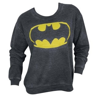 Junior's Dark Grey Cotton-blended Batman Logo Sweatshirt