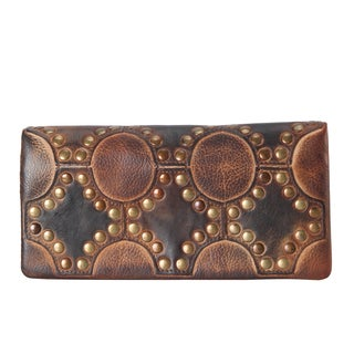 Rimen & Co. Reactionary Brown Leather Studded Pattern Design Bifold Wallet