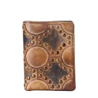 Rimen & Co. Genuine Leather Reactionary-studded-pattern Design Bifold Wallet