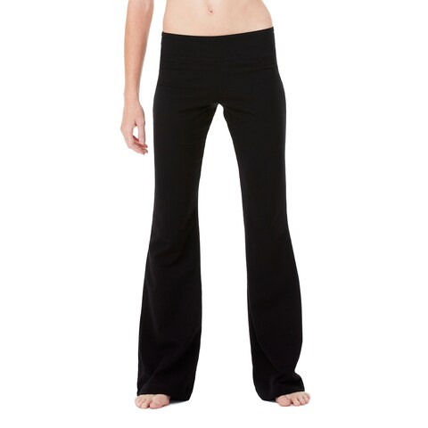 Women's Black Cotton and Spandex Fitness Pants
