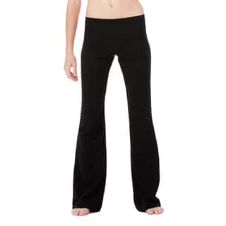 Women's Black Cotton and Spandex Fitness Pants|https://ak1.ostkcdn.com/images/products/12318849/P19151986.jpg?impolicy=medium