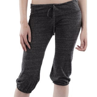Women's Black Jersey Cropped Pants