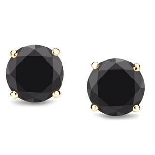 Trillion Designs 10k Yellow Gold Black Round Cubic Zirconia Stud Earrings