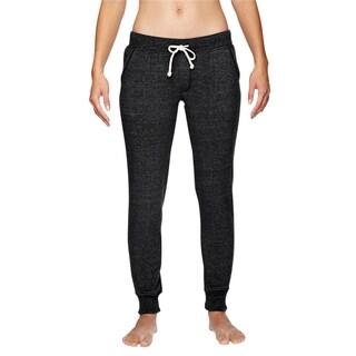 Women's Eco Black Polyester/Cotton/Rayon Fleece Jogger