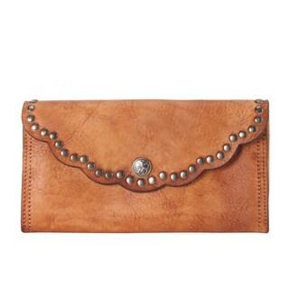 Rimen & Co. Genuine Reactionary-studded-edging Decor Leather Flap Wallet