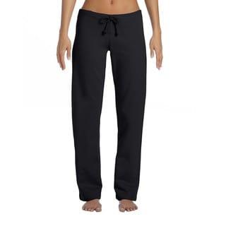 Fleece Women's Black Cotton Straight Leg Sweatpant