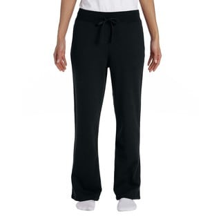 Gildan Women's Black Heavy Blend Open-bottom Sweatpants