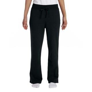 Gildan Women's Black Heavy Blend Open-bottom Sweatpants