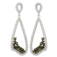 Luxiro Sterling Silver Cubic Zirconia Teardrop Dangle Earrings - Green