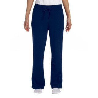 Gildan Women's Heavy-blend Open-Bottom Navy Sweatpants