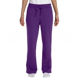 Gildan Women's Purple Polyester/Cotton Heavy Blend Open-bottom Sweatpants