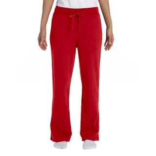 Gildan Women's Red Polyester/Cotton Heavy Blend Open-bottom Sweatpants