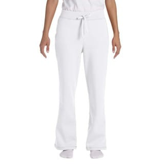 Gildan Women's White Heavy Blenduty Open-bottom Sweatpants