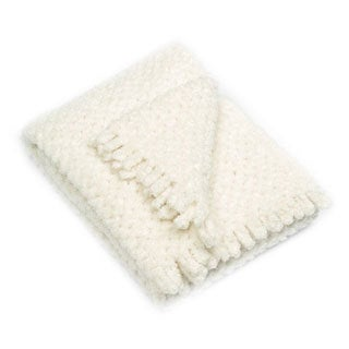 PashmereBaby Cloud White 26-inches x 36-inches Criss-cross Pattern Baby Blanket