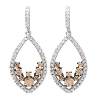 Luxiro Two-tone Sterling Silver Cubic Zirconia Teardrop Dangle Earrings