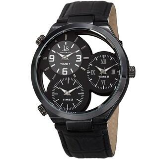 Joshua & Sons Men's Quartz Triple Time Zone Black Leather Strap Watch