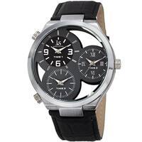Joshua & Sons Men's Quartz Triple Time Zone Grey Leather Strap Watch