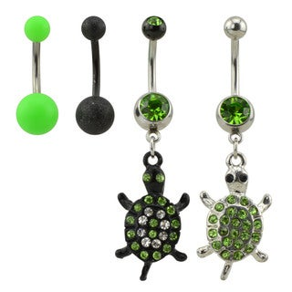 Supreme Jewelry Turtle Belly Ring Value Pack with Matte Belly Rings
