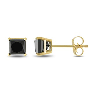 Trillion Designs 10k Yellow Gold Black Princess Cubic Zirconia Stud Earrings