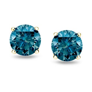 Trillion Designs 10k Yellow Gold Blue Round Cubic Zirconia Stud Earrings