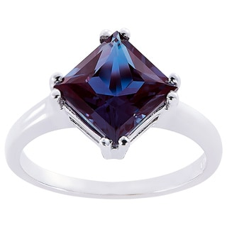 Oravo 14k White Gold 2 3/4ct TGW Created Alexandrite Princess-cut Solitaire Ring
