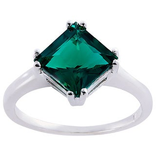 Oravo 14k White Gold 2ct TGW Created Emerald Princess-cut Solitaire Ring