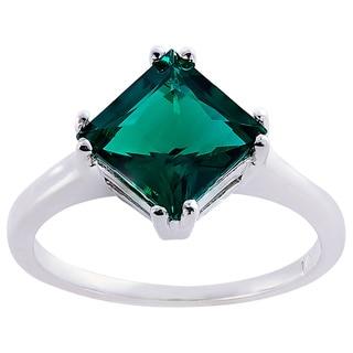 Oravo 14k White Gold 2ct TGW Created Emerald Princess-cut Solitaire Ring