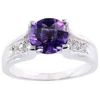 Oravo 14k White Gold 1 3/4ct TGW Amethyst 1/8ct TDW Diamond Accent Cathedral Ring