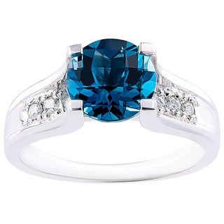 Oravo 14k White Gold 2.25 Carat London Blue Topaz 1/8ct TDW Diamond Accent Cathedral Ring