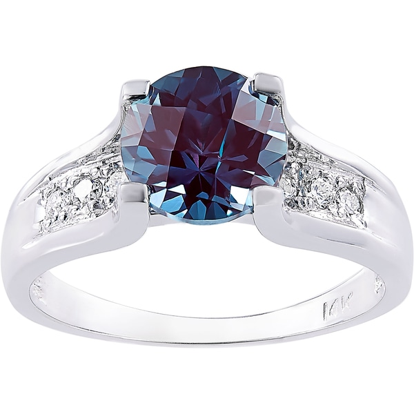 oravo 14k white gold 225 carat created alexandrite 18ct tdw diamond accent cathedral ring - Alexandrite Wedding Ring