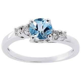 Oravo 14k White Gold 3/4ct TGW Aquamarine 1/8ct TDW Diamond Accent Solstice Ring