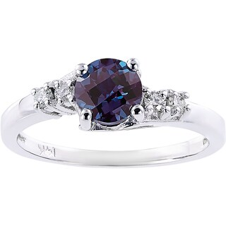 Oravo 14k White Gold 1ct TGW Created Alexandrite 1/8ct TDW Diamond Accent Solstice Ring