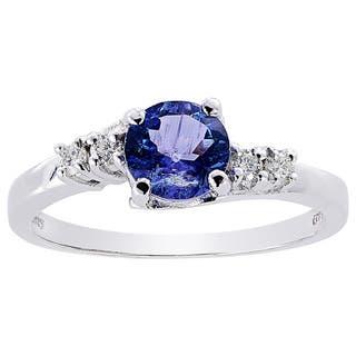 Oravo 14k White Gold 3/4ct TGW Tanzanite 1/8ct TDW Diamond Accent Solstice Ring|https://ak1.ostkcdn.com/images/products/12319178/P19152157.jpg?impolicy=medium
