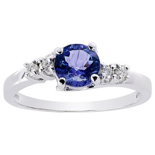 Oravo 14k White Gold 3/4ct TGW Tanzanite 1/8ct TDW Diamond Accent Solstice Ring