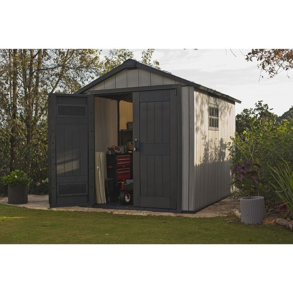 keter duotech oakland 75 x 9 ft customizable outdoor storage shed free shipping today overstockcom 19152158 - Garden Sheds 5 X 9