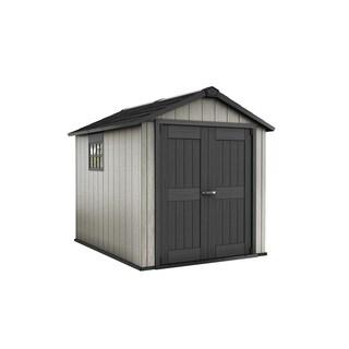 Keter Okland Grey Wood/Plastic 7.5-foot x 9-foot Outdoor Garden Storage Shed