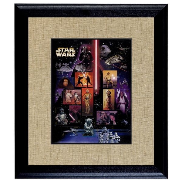 American Coin Treasures Star Wars U.S. Stamp Sheet in 16 x14 Wood Frame 19827937