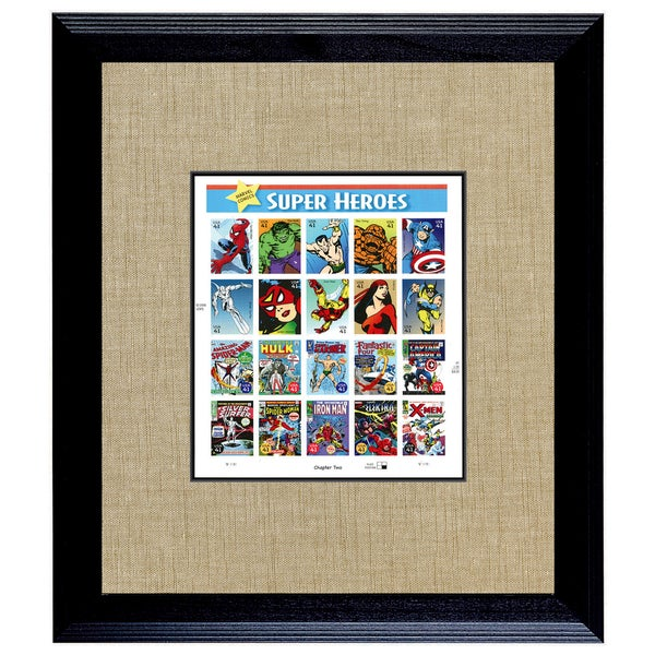 American Coin Treasures Super Heroes 2 U.S. Stamp Sheet in 16-inch x 14-inch Wood Frame