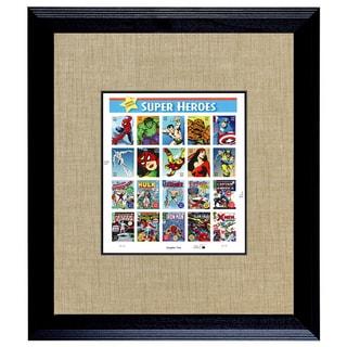 American Coin Treasures Super Heroes 2 U.S. Stamp Sheet in 16-inch x 14-inch Wood Frame