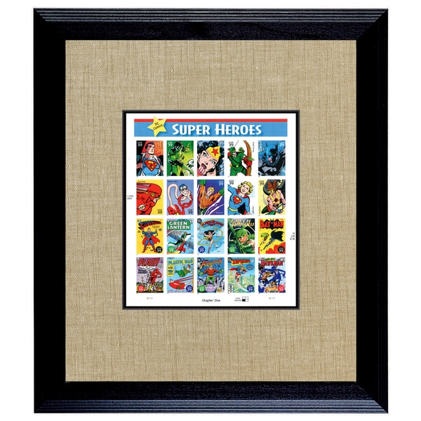 American Coin Treasures Super Heroes U.S. Stamp Sheet in 16-inch x 14-inch Wood Frame