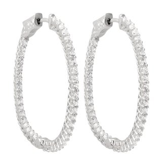 Luxiro Sterling Silver Cubic Zirconia 33x36-mm Oval Endless Hoop Earrings