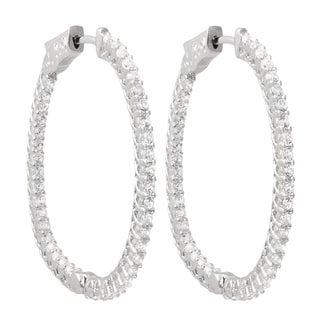 Luxiro Sterling Silver Cubic Zirconia 33x36-mm Oval Endless Hoop Earrings