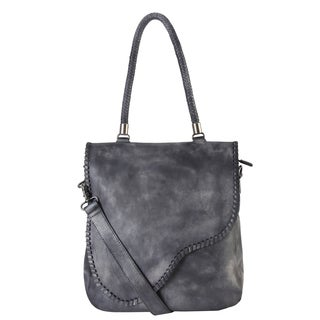 Rimen & Co. Grey/Brown Genuine Leather Large Tote Bag