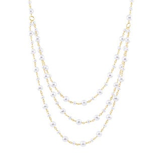 14k Yellow Gold Freshwater Pearl 3-layer Beaded Necklace