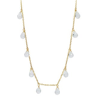 14k Yellow Gold White Topaz Necklace