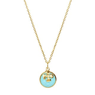 14k Yellow Gold Turquoise Fiori Charm Necklace